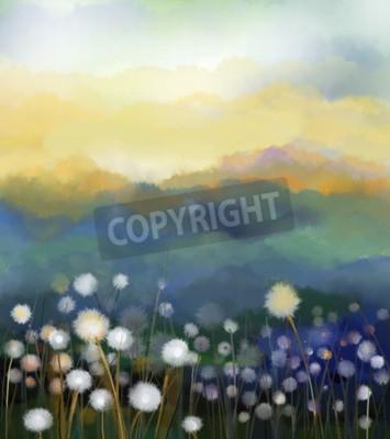 Фотообои Абстрактная картина маслом белые цветы поле в мягкие цвета. Картины маслом белый цветок одуванчика на лугах. Весна цветочные сезонный характер с синим - зеленый холм в фоновом режиме.