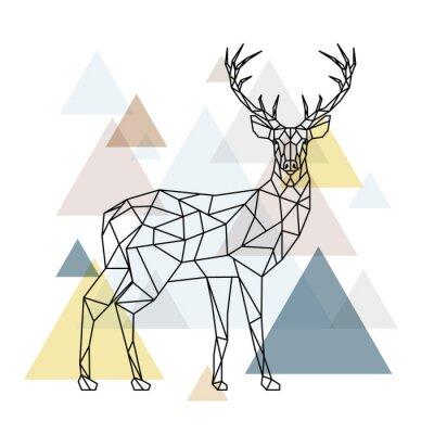 Фотообои Абстрактный полигональный олень. Геометрический рисунок хипстера. Олень с боковым видом. Скандинавский стиль.