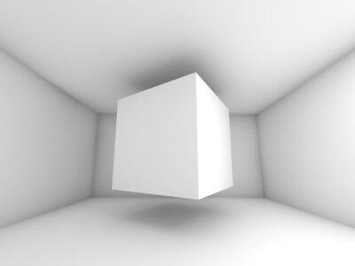 Фотообои Abstract white room interior, flying cube