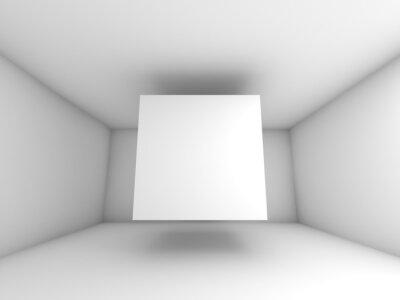 Фотообои Аннотация белый интерьер комнаты с летающей куба