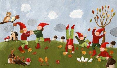 Фотообои Акриловые иллюстрацией милые дети - карлики танцуют в фа