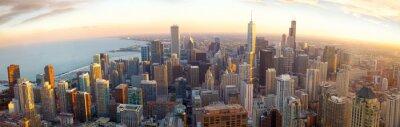 Фотообои Воздушная Чикаго панорама на закате, штат Иллинойс, США