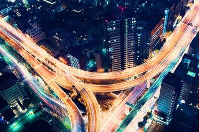 Фотообои Вид шоссейных дорог в ночное время в Токио, Япония