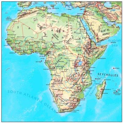 Фотообои Африка физическое континент карту