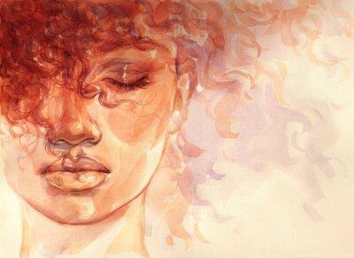 Фотообои african american woman. illustration. watercolor painting