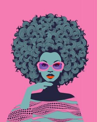 Фотообои Afro American woman art portrait with pink sunglasses. Mid century modern retro style. Eps10 vector