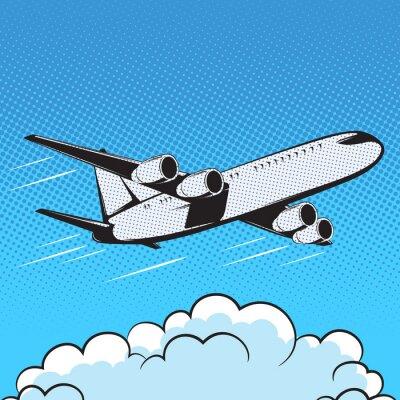 Фотообои самолет ретро-стиле поп-арт воздух