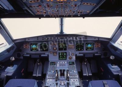 Фотообои airplane cockpit of a modern passenger jet