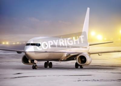 Фотообои Аэропорт и белый самолет в нелетную погоду, зимнее время