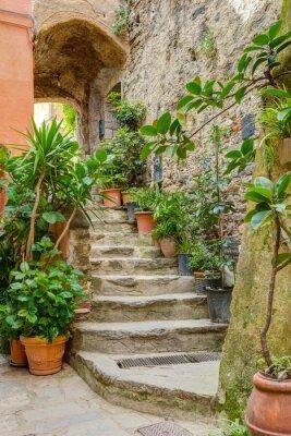 Фотообои Аллея в итальянский старый город Лигурии Италии