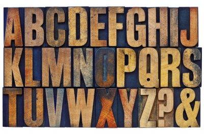 Фотообои алфавит в блоках типа книгопечатание древесины