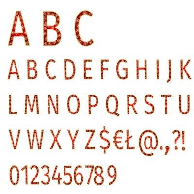 Фотообои Алфавит снежинки на красном фоне вектор