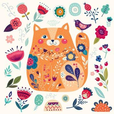 Фотообои Удивительный декоративный желтый кот с цветочными элементами