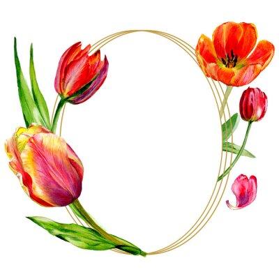 Фотообои Изумительный красный цветок тюльпана с зелеными листьями. Акварельный фон иллюстрации набор. Рамка бордюра круглая.