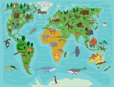 Фотообои Мир животных. Забавный мультфильм карта