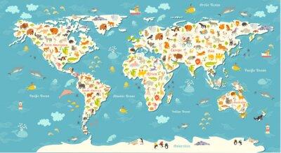 Фотообои Животные карта мира. Красивая веселая красочная векторные иллюстрации для детей и малышей. Дошкольная, ребенок, материки, океаны, нарисованы, Земля