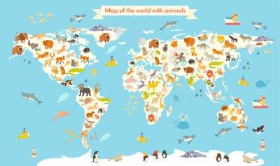 Фотообои Животные карта мира. Красочные мультфильм векторные иллюстрации для детей и малышей. Дошкольная, образование, ребенок, материки, океаны, нарисованы, Земля