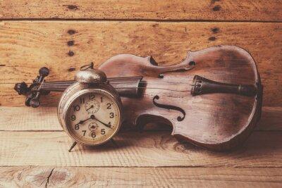 Фотообои Антикварные часы и старую скрипку за урожай деревянный стол