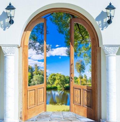 Фотообои Арка дверь пруд