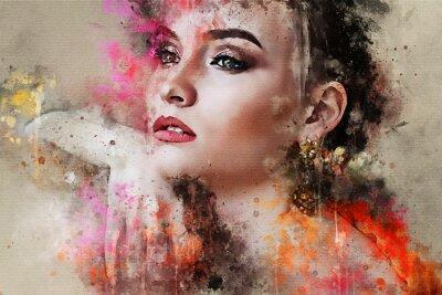 Фотообои Искусство красочные набросал красивый абстрактный портрет лица девушки на цветном фоне в цифровой акварельной смешанной технике слово мода стиль модель