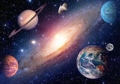 Фотообои Астрология астрономия земля луна космические Марс Сатурн Солнечная система планеты галактики. Элементы этого изображения, предоставленную NASA.