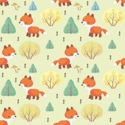 Фотообои Baby красочные бесшовные модели с изображением милые лесные животные. Векторный фон.