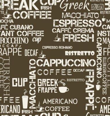 Фотообои Фон бесшовные плитки кофе слова и символы
