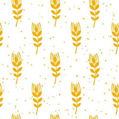 Фотообои Пекарня бесшовные модели с пшеницей на белом фоне. Украшение для текстиля и обертывания. Вектор.