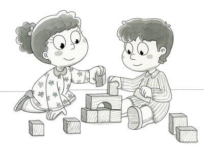 Фотообои Bambini че giocano кон cubetti. Вп