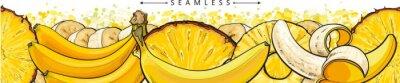 Фотообои Banana and pineapple seamless pattern or endless border sketch vector illustration.