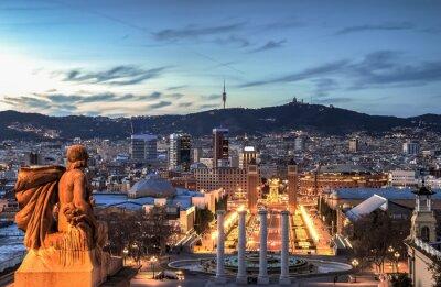 Фотообои Барселона в синий час, Испания