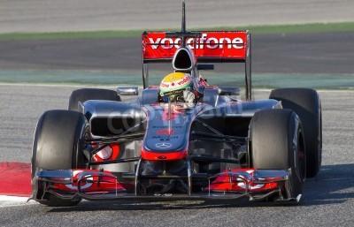 Фотообои БАРСЕЛОНА - 21 февраля: Льюис Хэмилтон из McLaren F1 Team гонок на Формуле Команды тестовых дней в Каталонии цепи 21 февраля 2012 года в Барселоне, Испания