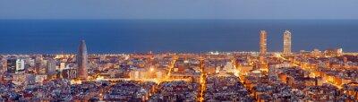 Фотообои Барселона Панорама горизонты в синий час