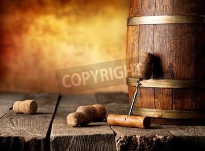 Фотообои Бочка с вином и штопор на деревянный стол