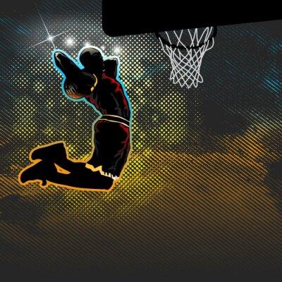 Фотообои Баскетболист идет на двуручным макают