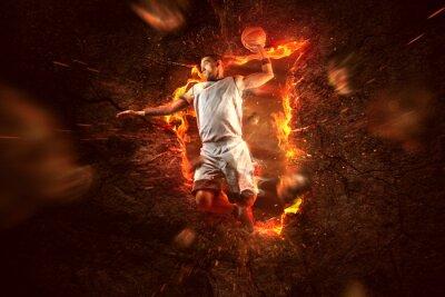 Фотообои Баскетболист в огне