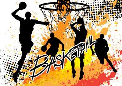 Фотообои баскетболист команды на белом фоне гранж