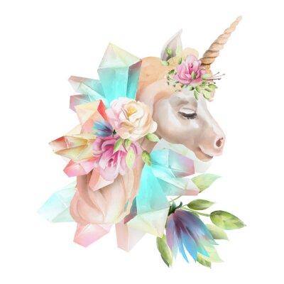 Фотообои Красивая, симпатичная, акварельная голова единорога с цветами, цветочная корона, букет и магические кристаллы, изолированные на белом