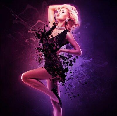 Фотообои Красивая девушка танцовщица в черном платье в творческой позе над искусством