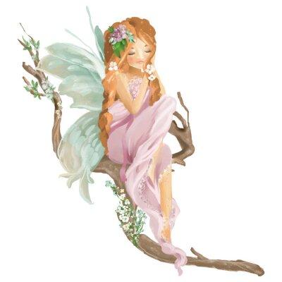 Фотообои Красивая маска ручной масляной феи, сидя на старой ветке дерева с цветочным букетом, цветы венок, изолированных на белом