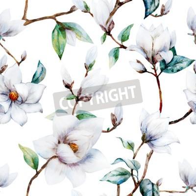 Фотообои Красивый растровый рисунок с красивыми акварельными цветами магнолии
