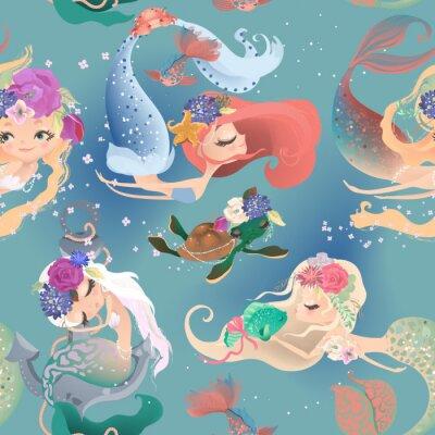 Фотообои Beautiful seamless pattern with cute mermaid girls, princess in floral wreath, bouquets, turtle and fish