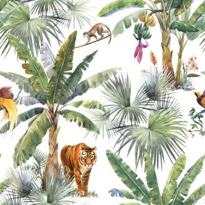 Фотообои Beautiful seamless pattern with watercolor tropical palms and jungle animals tiger, giraffe, leopard. Stock illustration.