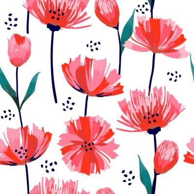 Фотообои Красивые летние свежие модные Дикий цветущий цветок розовый тюльпан бесшовные модели в стиле рисования рукой