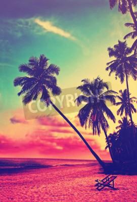 Фотообои Красивый тропический пляж с силуэты пальм на закате