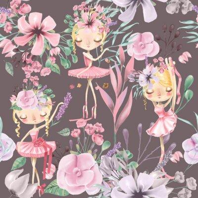Фотообои Красивая акварель цветочные бесшовные модели с милой балет девушки, балерины. Абстрактные розы, пион, сирень и ветви на темном фоне