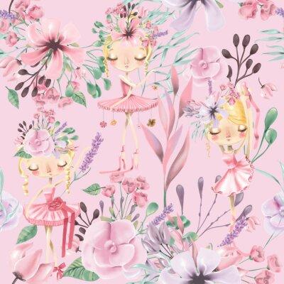 Фотообои Красивая акварель цветочные бесшовные модели с милой балет девушки, балерины. Абстрактные розы, пион, сирень и ветви на розовом фоне