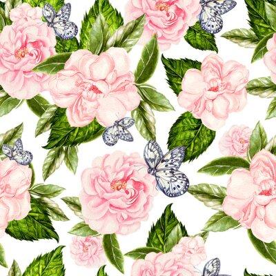 Фотообои Beautiful watercolor seamless pattern with flowers of rose and peony, butterflies.