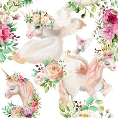 Фотообои Красивые, акварельные единороги принцесса, пегас в золотой короне и цветочные, цветы пион и розы букеты и голубь на белом фоне бесшовные модели