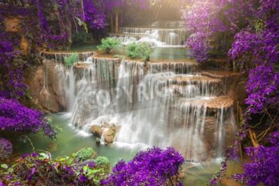 Фотообои Красивый водопад в осенний лес, глубокий лес водопад, провинция Канчанабури, Таиланд